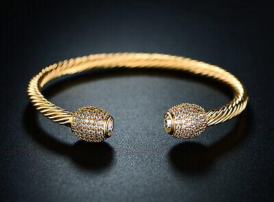 Sevil 18K Gold Plated Open Cuff Bangle with Swarovski -