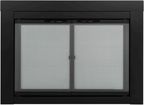 Pleasant Hearth AN-1012 Alpine Cabinet Style Fireplace Screen and Door - Black