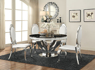 Marble Round Dining Table Set - CONTEMPORARY FAUX MARBLE & CHROME ROUND DINING TABLE CREAM CHAIRS FURNITURE SET