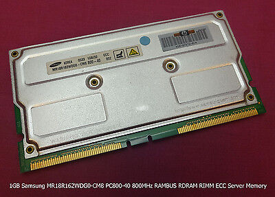 1GB Samsung MR18R162WDG0-CM8 PC800-40 800MHz RAMBUS RDRAM RIMM