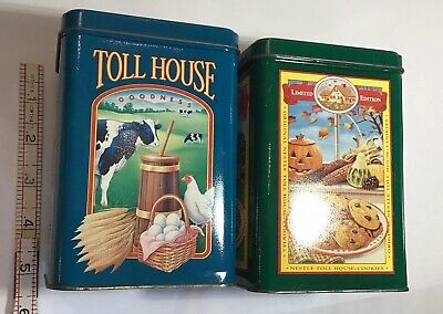 """Vintage Nestle Toll House Cookies Limited Edition Tin Canisters 6.25"""" Tall Set"""