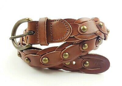 New Abercrombie & Fitch leather tan braided studded embellished BELT M/L