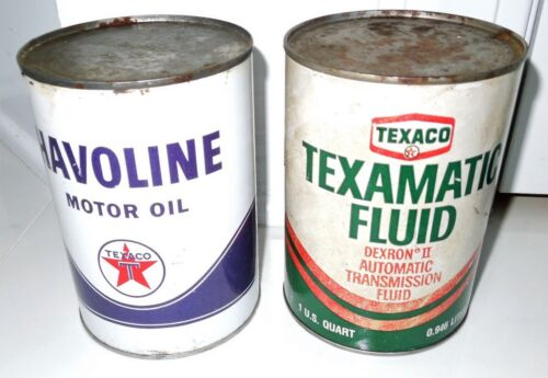 2 FULL ONE QUART VINTAGE TEXACO/HAVOLINE CAN TEXAMATIC FLUID AND MOTOR OIL