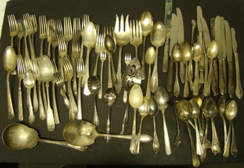 SILVERPLATE SILVERWARE LOT 79 Pieces Fork Spoon Knife CRAFT Wedding 7+ Pounds