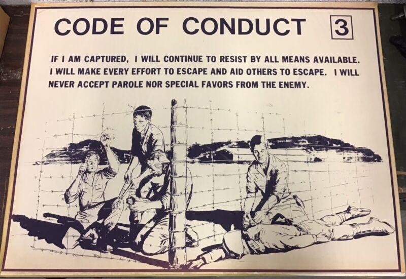 """Vietnam Era Military Training Poster """"Code Of Conduct 3"""""""