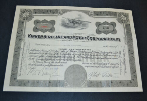 Kinner Airplane and Motor Corporation 1935 vintage stock certificate – Earhart's