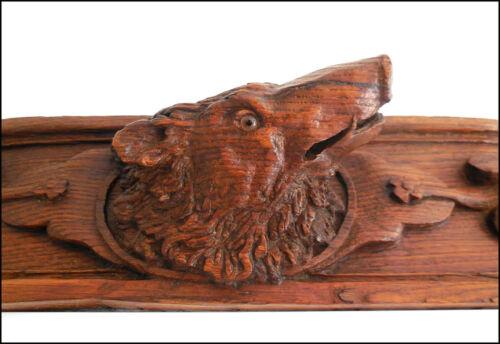 French Antique Pediment/Solid Oak Wood Salvage Carved .Boar black forest .Hunt