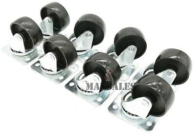 Qty-8 2 Swivel Metal Caster Wheels Base With Top Plate Bearing