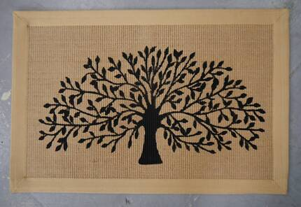New Tree Of Life Design Indoor Natural Jute Cotton Floor Mats Rug