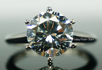 Engagement Ring Round Brilliant Cut Solid 14K Gold White VVS1/D 4.00 CTW Wedding