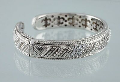 Judith Ripka Sterling Silver Hinged Cuff Bracelet w/ CZ Accents