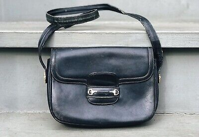 Vintage Gucci Crossbody Made in Italy Shoulder Bag Black Leather