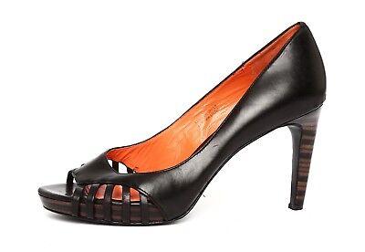 Via Spiga Womens Black Leather Slip On Heels Sz 6 5M 2713
