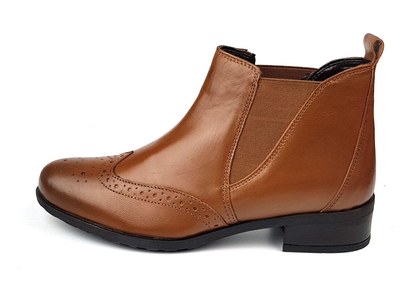 Comfort Plus Ladies Womans Leather Chelsea Boots Tan 3 4 5 6 7 8 1