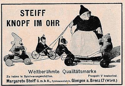 1925 Steiff Weltberühmte Qualitätsmarke 10x7 cm original Printwerbung