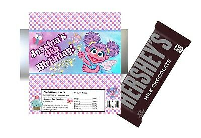 10 ABBY CADABBY BIRTHDAY HERSHEY BAR WRAPPERS W/ FOILS PARTY FAVORS - Personalized Hershey Bar Wrappers