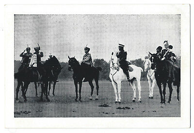 Russian Czar Nicholas II, daughter Olga, postcard on horseback; Hussars