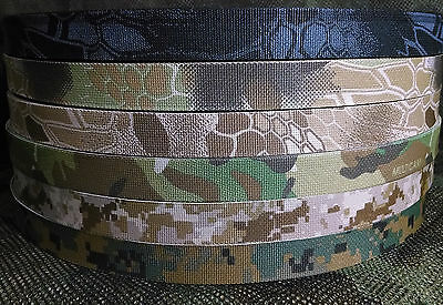 - Military Nylon Webbing 1 Inch Mil Spec-Kryptek-Multicam-Digital-2 Sided-Per Yard