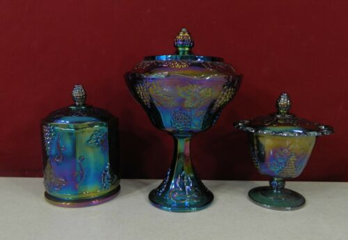 Indiana Glass Blue Carnival Harvest Grape 3 Piece Lot