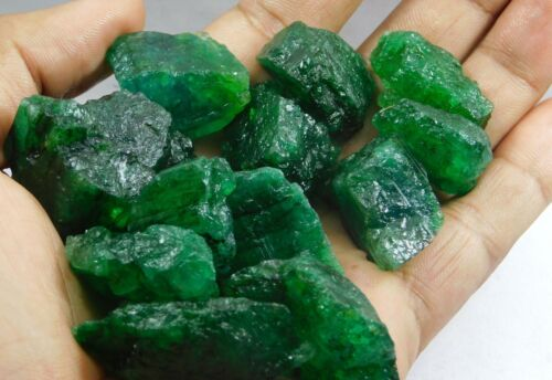 62.00Ct + Translucent Natural Colombian Emerald Green Loose Mineral Rough lot 6