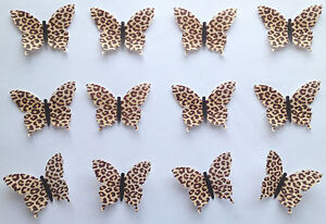 12 leopard animal print edible wafer paper butterflies for Animal print edible cake decoration