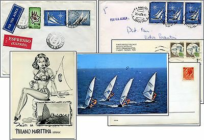 4 Items Sail Boating In Italy  Italian Philately World Championships   Postcards