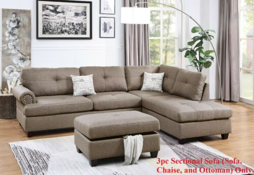 Modern Sectional Sofa L Shaped Couch Tufted Nickel Stud Arm Ottoman Mocha