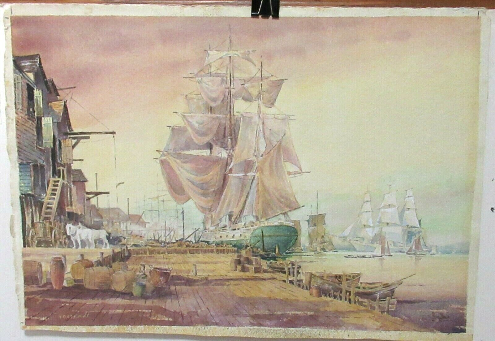 GEORGE DALY SAIL SHIP AT PORT ORIGINAL WATERCOLOR SEASCAPE PAINTING DATED 1971 - $695.00