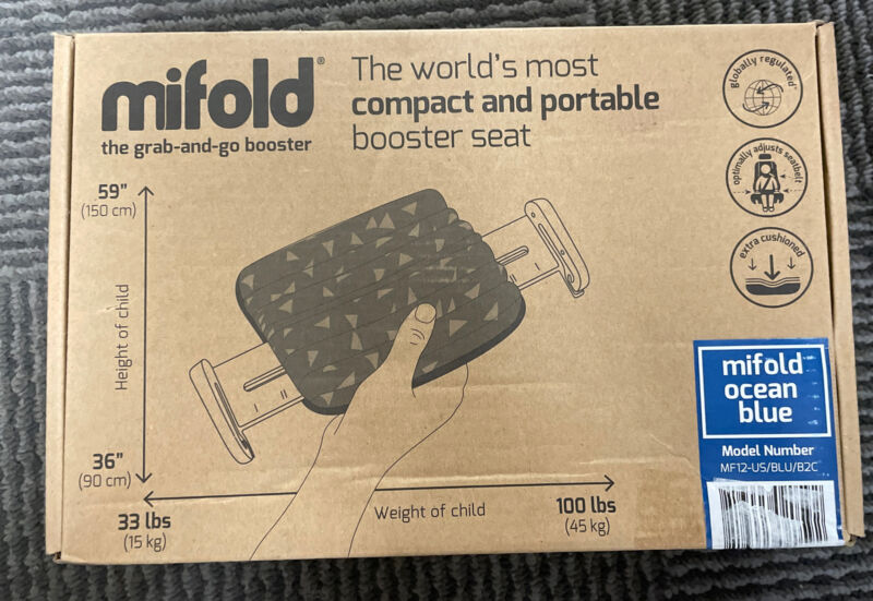 New - Mifold Comfort Grab-and-go Car Booster Seat- 3X Thicker Cushion Compact