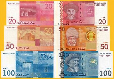 Kyrgyzstan Set of 3 banknotes: 20 50 100 Som p-24, 25, 26 2016 UNC