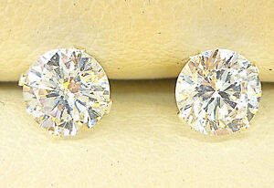 925 Sterling Silver Diamond Stud Earrings 5mm Round Created Clear Stone Uk R