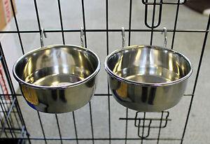 PAIR STAINLESS STEEL TOUGH METAL COOP CUP DOG CRATE FOOD WATER BOWL CAGE ANIMAL