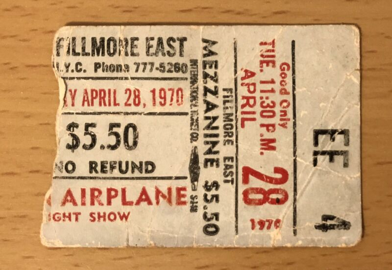 1970 THE JEFFERSON AIRPLANE / MANFRED MANN FILLMORE EAST NYC CONCERT TICKET STUB
