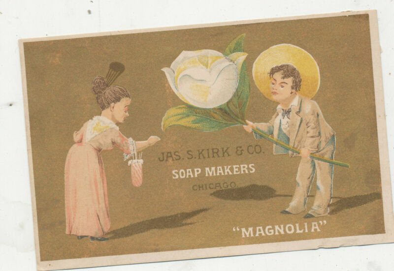 D1371 VICTORIAN TRADE CARD JAS S KIRK SOAP CO MAGNOLIA