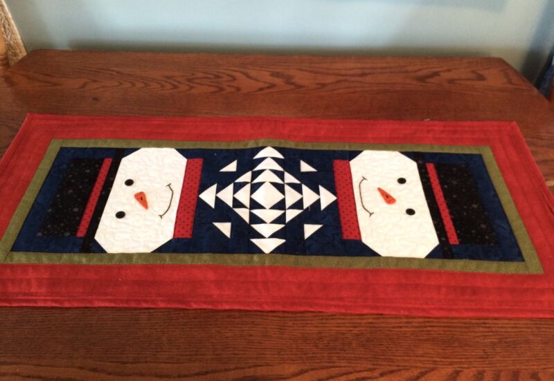Snowman Table Runner, Quilted Winter Table Decor, Handmade