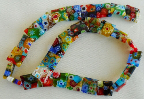 30 Millefiori Square Glass Beads in Assorted Colors 14mm