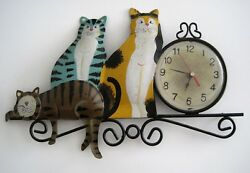 Metal Art Kitty Cats Wall Clock Folk Art Whimsical Picture Frame Tabby Calico