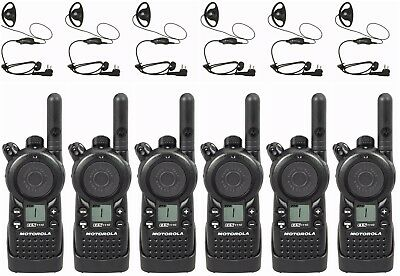 6 Motorola Cls1110 Uhf Two-way Radios Hkln4599 Headsets. Buy 6 Get One Free