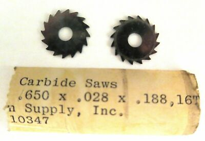 2 Solid Carbide Slotting Jeweler Blade Saws .650 X.028 X.188 Watchmaker Lathe