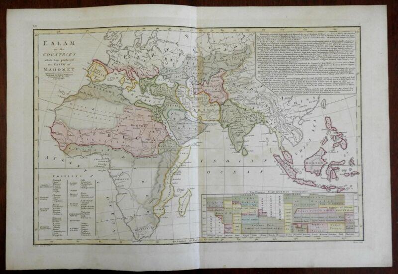 Islamic World Muslim Historical Empires & Kingdoms of history 1804 Wilkinson map