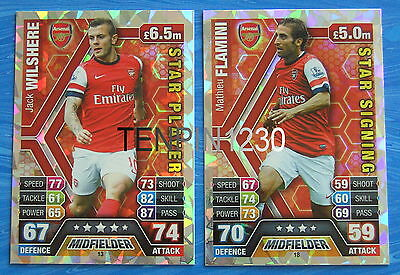 MATCH ATTAX 2013/2014 ARSENAL STAR PLAYER & STAR SIGNING CARDS