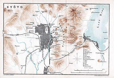 Map Japan Kyoto 京都市 Mikado 1903 Small Orig Fushimi 伏見区 Otsu 大津市 Guide 37 P.