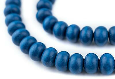 Azul Blue Abacus Natural Wood Beads 8x12mm Round Large Hole 16 Inch Strand