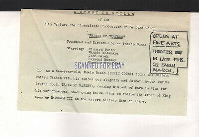 PRINCE OF PLAYERS RAYMOND MASSEY AS JUNIUS BOOTH ORIGINAL LOBBY PHOTO  - $9.95