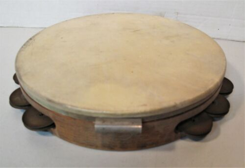 TAMBOURINE - COLLECTIBLE VINTAGE 1940-50 w/ CALF HEAD