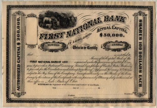 First National Bank At Lodi, Ohio Stock Certificate