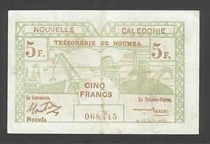 Nueva Caledonia 5 francos 1943 F-VF P. 58, billetes, CIRCULADO-  ver título original - España - Nueva Caledonia 5 francos 1943 F-VF P. 58, billetes, CIRCULADO-  ver título original - España