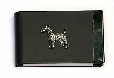 Fox Terrier Design Black Pu And Metal Business Or Credit Card Holder Gift 143