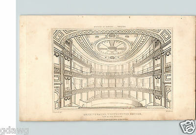 1838 Royal Amphitheatre Westminster Bridge London Theaters 1 Drawing   7 Pg Bio