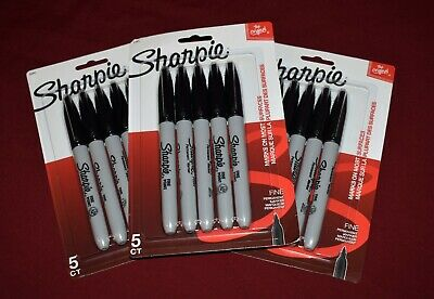 Sharpie Permanent Marker Lot Of 3 5 Packs 15 Total Markers Solid Black Quick Dry